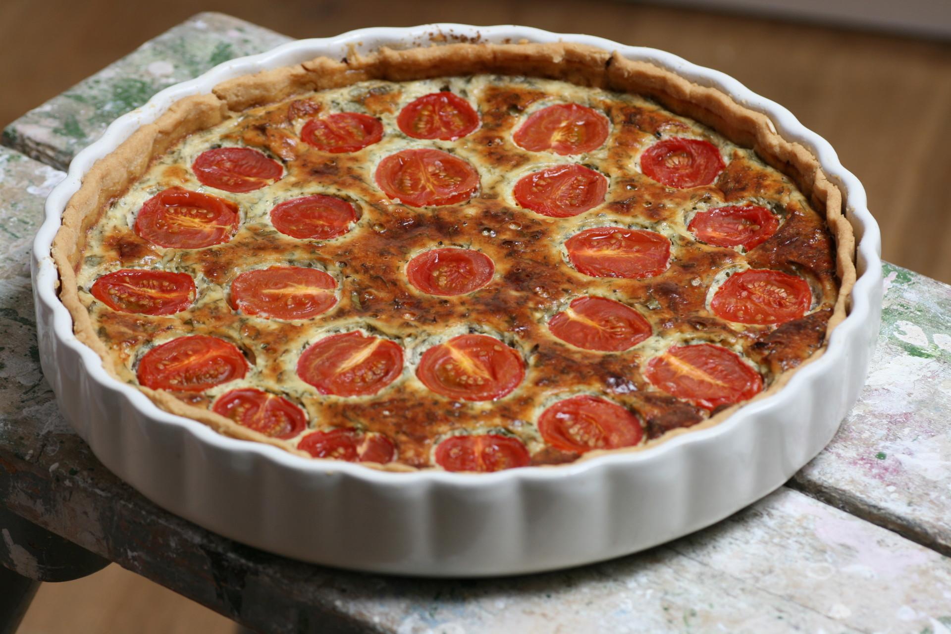 Kirschtomatentarte, Tomaten, Mürbeteig, Gorgonzola