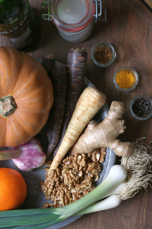 Kürbissuppe, Ingwer, Orange, Paleo, karameliesiert