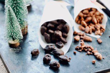 Gebrannt Mandeln mit Zartbitterschokolade